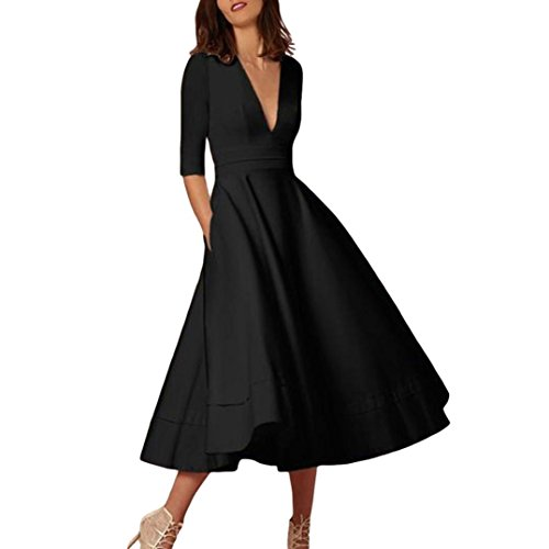 61a6f74a5305 Kangma Dress Women s Long Ball Gown Prom Ladies V-Neck Evening Party Swing  Dress ...