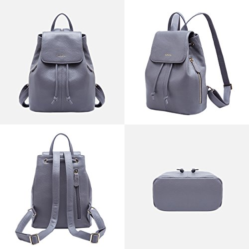 4cdd493ac8 Genuine Leather Mini Backpacks for Women Cute Travel Bags Small Purse for  Girls (Grey)