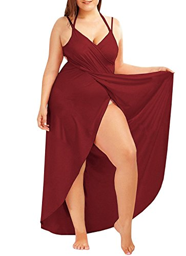 L Amp Zz Women S Spaghetti Strap Cover Up Beach Backless Wrap Long Dress Plus Size Cozy Red