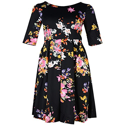 Samtree Women\'s Plus Size Floral 3/4 Sleeve Backless ...