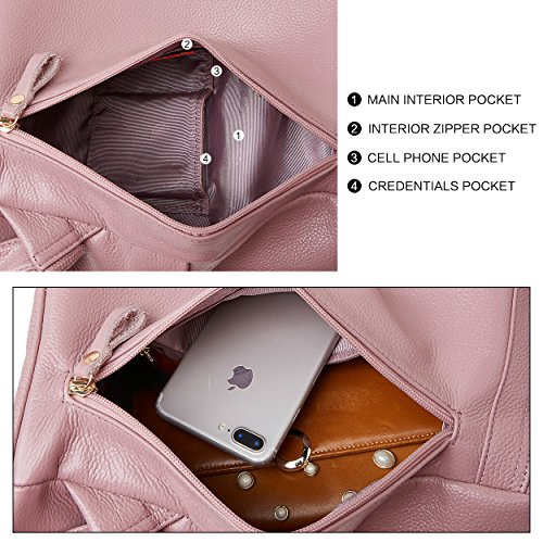 305f8a0d0f BOYATU Genuine Leather Backpack for Women Anti-theft Rucksack Ladies Travel  Bag(Pink). Material  top grain cowhide