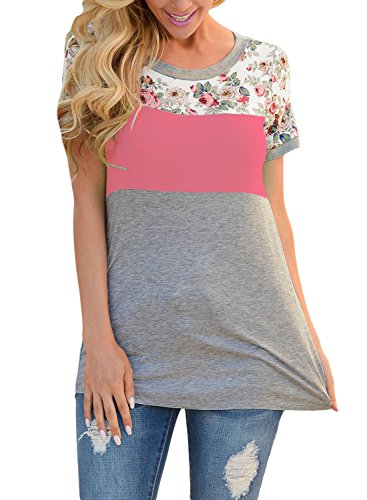 2ed659c1211 Itsmode Women Summer Casual Floral T Shirt Fashion 2018 Juniors Plus Size  Tunic Tops and Blo…
