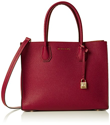 27c3ae169d58 Michael Kors Mercer Large Convertible Tote in Mulberry | | Cozy Red