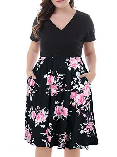 Nemidor Womens V Neck Print Pattern Casual Work Stretchy Plus Size