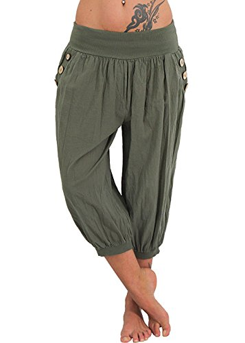 Womens Plus Size Harem Pants Aladdin Linen Loose Harlan Pants With