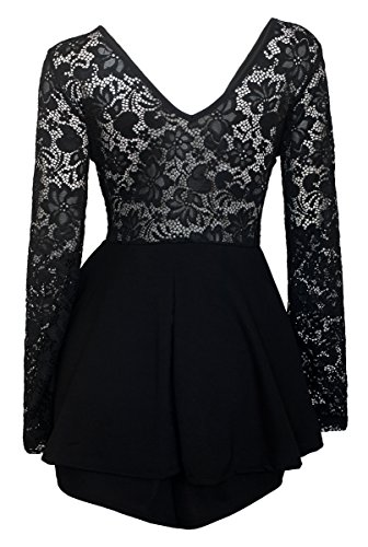 b47a399c389 Plus size romper dress features lace overlay design. Long sleeves in  transparent lace. The top is lined at the front