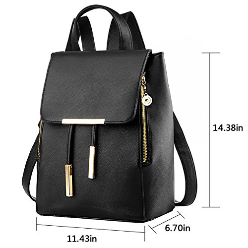 10223b72c8dd COOFIT Black Faux Leather Backpack for Girls Schoolbag Casual Daypack.  Black color. Material  PU leather. Backpack Size  11.43 x 14.38 x 6.7 in (W    H   D)