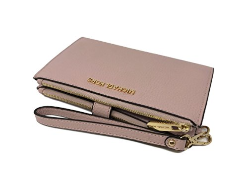 5d3057905904 Michael Kors Jet Set Travel Double Zip Leather Wristlet Wallet in Blossom.  Pebble leather with gold hardware. Snap closure with double zipped  compartment.