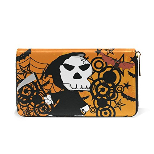 day of the dead sugar skull pumpkin wallets halloween leather clutch purse handbag