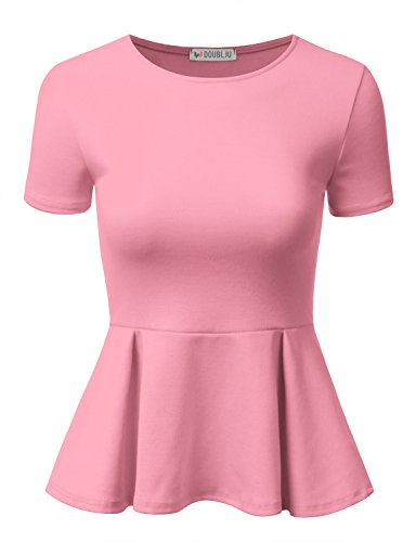 a5ee34edf0f5b Doublju Stretchy Flare Peplum Blouse Tops for Women with Plus Size Pink 2XL