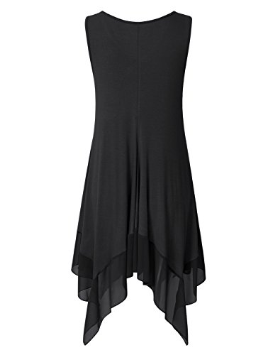210211a9587 Clearlove Womens Sleeveless Plus Size Blousees Chiffon Stitched Loose Tunic  Cami Tank Tops B…
