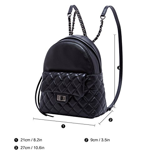 ce57b24576 BOYATU Genuine Leather Backpack Purse for Women School Bag Mini Travel  Rucksack (Black-02)