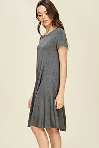 Annabelle Womens Loose Solid Knit Plus Size Dress With Side Pockets