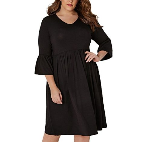 73899d00890 Ancapell Women s Plus Size Casual T-Shirt Midi Dress 3 4 Flare Sleeve Solid  Knee Length Jers…