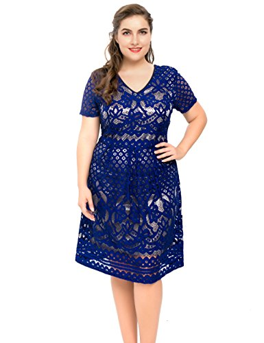 bd4e453a20b Chicwe Women s Plus Size Lined Floral Lace Skater Dress – Knee Length  Casual Party Cocktail …