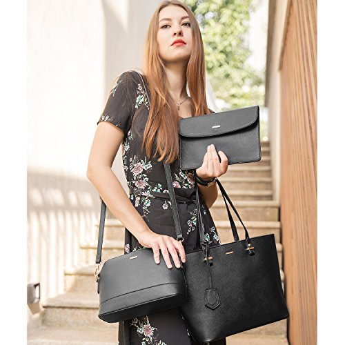 a3dc6e9c5d5a4 Handbags for Women Shoulder Bags Tote Satchel Hobo 3pcs Purse Set Black.  Partitioned, at an affordable price, presented nicely, are all features of  this set ...
