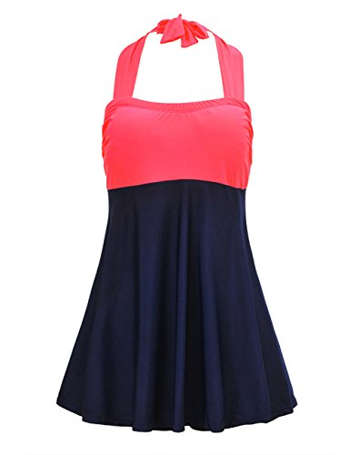 5a0cae31bed JOYMODE Plus Size Cerise Mint Swimdress One Piece Swimsuit Beachwear(FBA)  Red & Navy 3XL(US …
