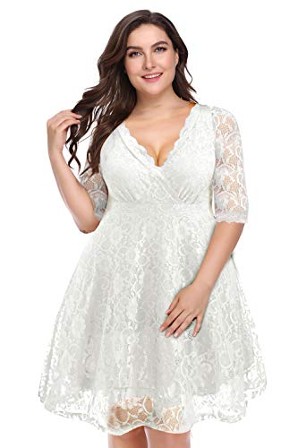 Pinup Fashion Womens Plus Size Lace Bridal Formal Skater Dress