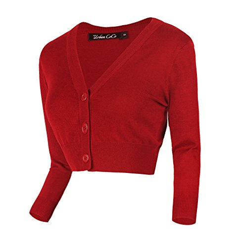 2f7da3fc17 Urban CoCo Women s Cropped Cardigan V-Neck Button Down Knitted Sweater 3 4  Sleeve (L