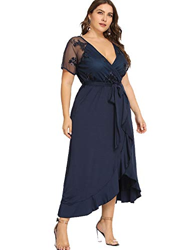 224ad819fd00a ESPRLIA Women's Empire Waist Plus Size Midi Dress (Blue, 14W). Material:  95% polyester / 5% elastane. Please check the Esprlia size chart in the  product ...