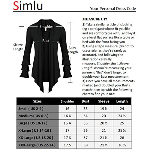 7af1b111dc Simlu Womens Open Front Cardigan Sweater Ruffle Long Sleeve Cardigan Reg  and Plus Size – Mad… COMFORT – These women s cardigans are composed of 95%  rayon