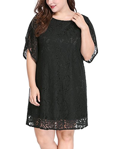1c4b8f4be2d uxcell Women s Plus Size Tulip Sleeves Floral Lace Shift Dress 3X Black