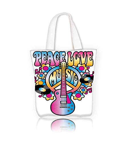 1891a2766768 Canvas Beach Bags Retro style of a guitar and peace symbol with the ...