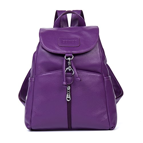 9a824c95e Cluci Women Leather Backpack Purse Satchel Shoulder School Bags for College  Purple