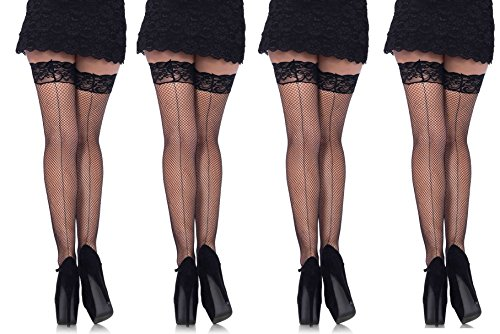 856ed13c32b Leg Avenue Women s Plus Size Fishnet Thigh High Stockings with Back Seam  and Silicone Lace T…