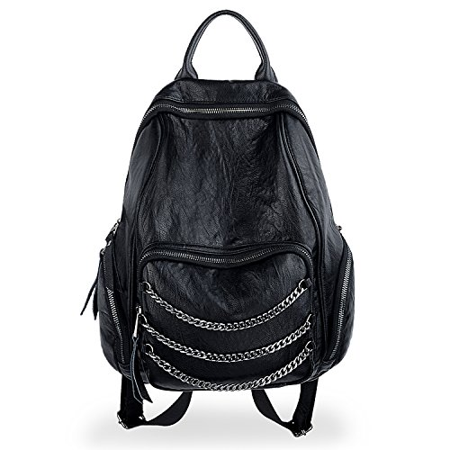 882273f0c497 UTO Women Backpack Purse PU Washed Leather Triple Chains Ladies ...