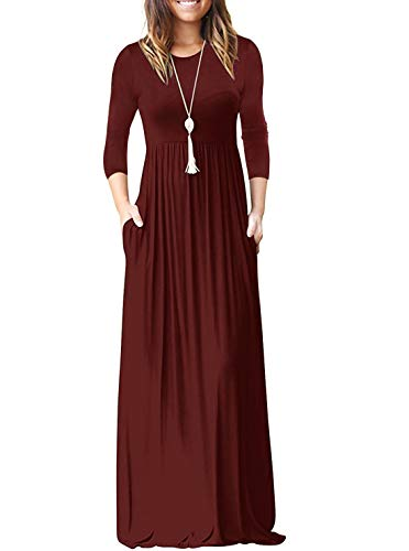 Womens Round Neck 34 Sleeve A Line Loose Maxi Dresses Plus Size