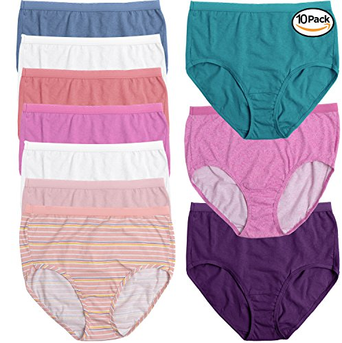 5cdfee824010 Fruit of the Loom Women's 10 Pack Cotton Brief Plus Size Panties  (Assorted,13)
