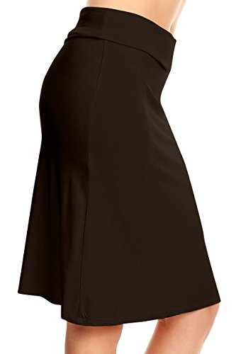 edad73fd53 Knee Length Brown Skirts for Women Regular and Plus Size a Line Midi Skirt  (Size XXX-Large, … Join the Simlu Fashion Club