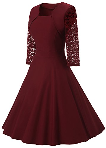 Chouyatou Women S Retro 3 4 Lace Sleeve Fit And Flare A
