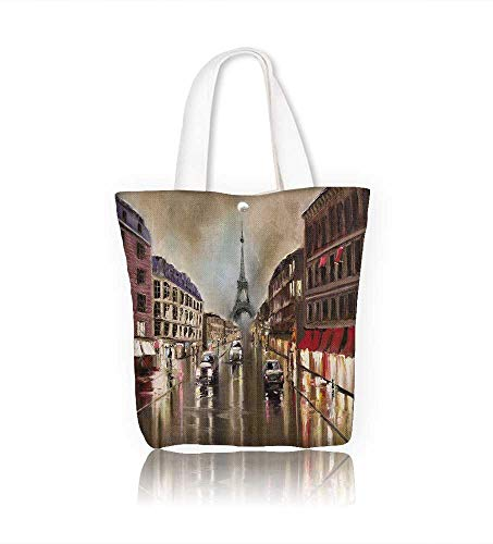 ffe6be17e8b3 Canvas Tote Bag rain in paris evening wet streets headlights and ...