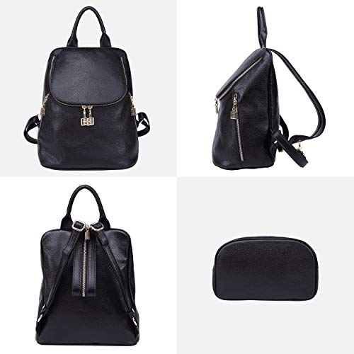 975e83e952 BOYATU Leather Backpack Purse for Women Elegant School Bags Ladies Rucksack  (Black)