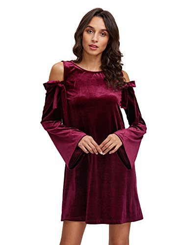 f80d92060d1 OEUVRE Womens Cold Shoulder Velvet A-Line Long Sleeve Shift Dress Red 12 ...