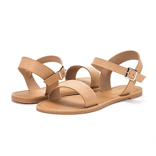 DREAM PAIRS Womens Nude T-Strap Flat Sandals Size 8 M US