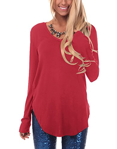67b11dc5c63 ... Gepoetry Women Blouses and Tops Tunic Shirts For Leggings Juniors Tunic  Tops (Red