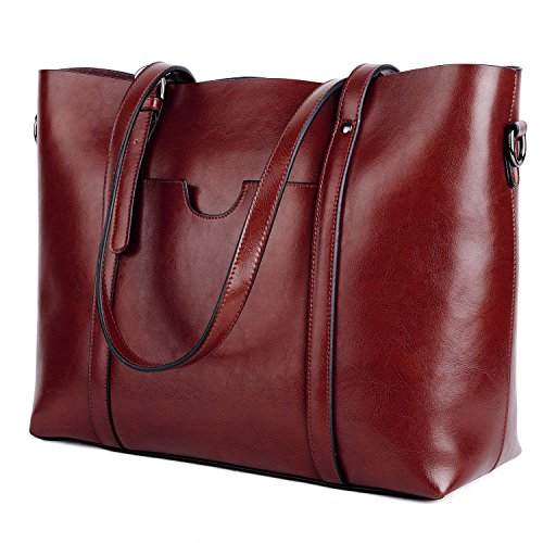 ee3cdeffab ... YALUXE Women s Vintage Style Soft Leather Work Tote Large Shoulder Bag  Wine Red