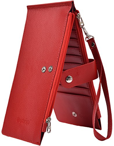 Women Wallet RFID Blocking PVC Leather Large Ladies Zipper Wristlet