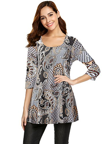 Hount Women S Plus Size Swing Tunic Top 3 4 Sleeve Floral