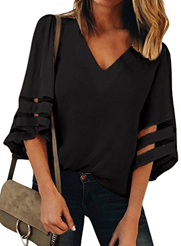 048a32d1ddb5b ... BLENCOT Womens Plus Size 3 4 Sleeve Bell Sleeve Lace Patchwork Chiffon Blouse  Shirt Casual L… ...