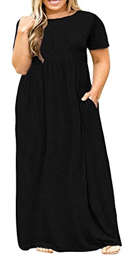 Delcoce Plus Size Maxi Dress Black Sun Dresses Short Sleeve ...