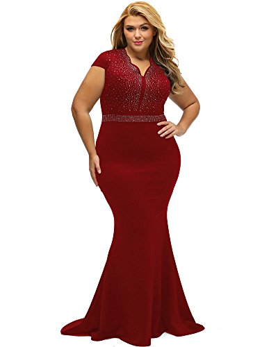 1ed3a86be09 Lalagen Women s Short Sleeve Rhinestone Plus Size Long Cocktail Evening  Dress Red XXXXL ...