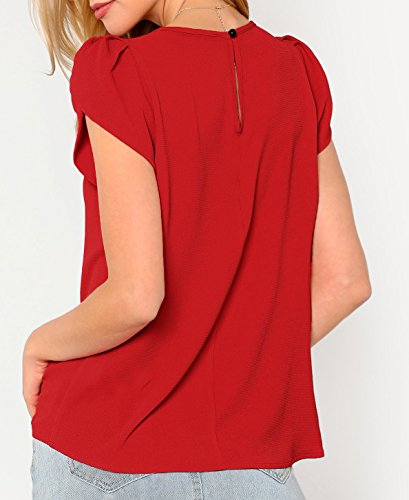 Milumia Womens Basic Round Neck Short Sleeve Curved Hem Tee Loose Casual Tunic Work T-Shirt Tops