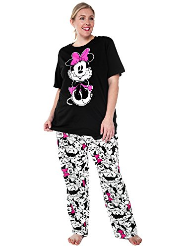 Disney Womens Plus Size Pajama Set Minnie Mouse T-Shirt -9481