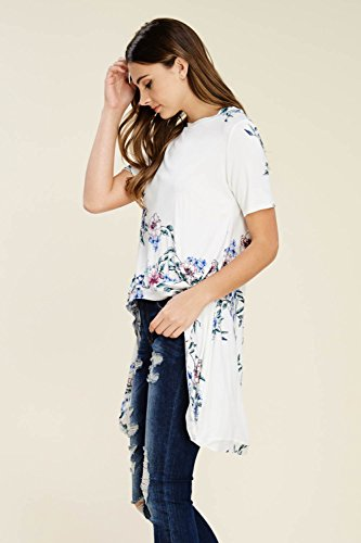 Annabelle Women S Plus Size Casual Short Sleeve Floral Print Hi Low Tunic Tops Ivory 3x Larg Cozy Red